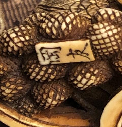 Asian Art & Antiques  - Ivory Netsuke of 2 quails on Millet Ears - Okatomo