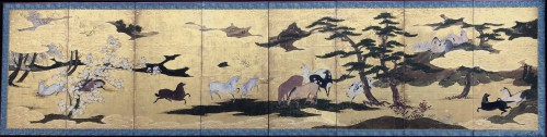 Rare Momoyama Period  8-Panel Japanese Screen of Horses