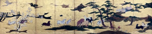 Rare Momoyama Period  8-Panel Japanese Screen of Horses - Asian Art & Antiques Style