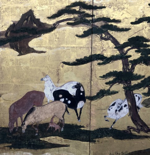 Rare Momoyama Period  8-Panel Japanese Screen of Horses -