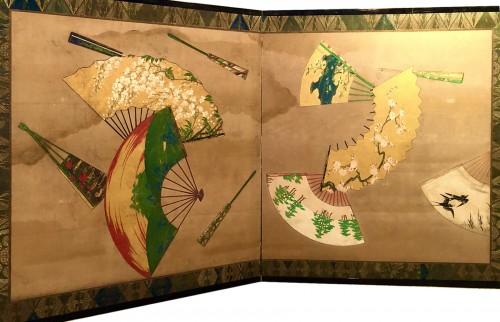 2-Panel Japanese Screen, Meiji period