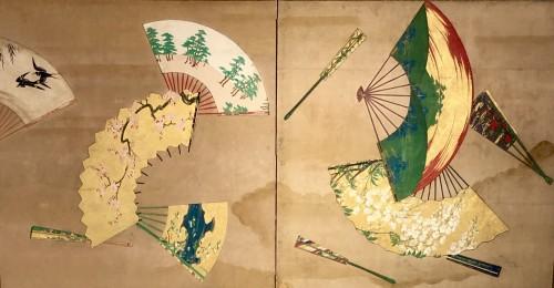 2-Panel Japanese Screen, Meiji period -