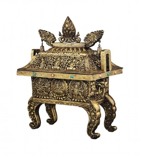 Large Gilt Bronze and Copper Censer