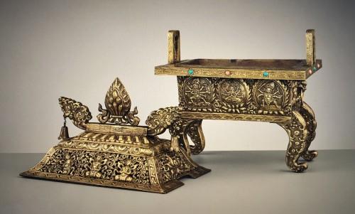 Asian Art & Antiques  - Large Gilt Bronze and Copper Censer