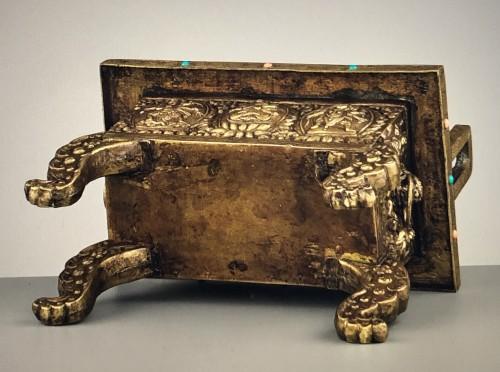 Large Gilt Bronze and Copper Censer -