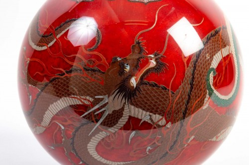 19th century - Important Ball Shape Dragons Vase