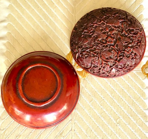 Asian Art & Antiques  - Incense Box (Kogo) in Red Lacquer