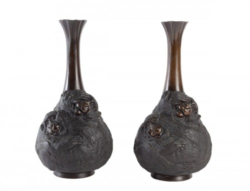 Pair of Japanese Bronze Vases with 3 Monkeys