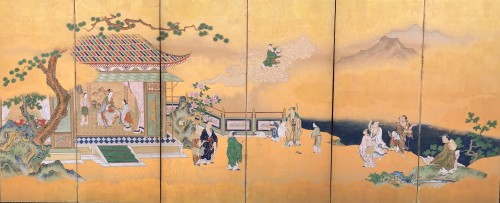 Japanese 6-Panel Screen of Chinese Figures Decoration