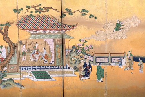 Japanese 6-Panel Screen of Chinese Figures Decoration - Asian Art & Antiques Style