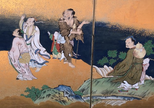 Asian Art & Antiques  - Japanese 6-Panel Screen of Chinese Figures Decoration