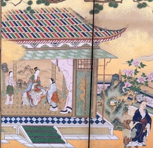 19th century - Japanese 6-Panel Screen of Chinese Figures Decoration
