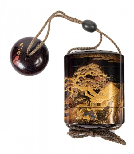 4-Case Gold Lacquered Inro - Kajikawa