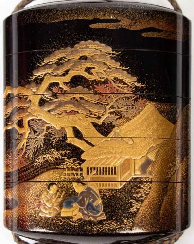 4-Case Gold Lacquered Inro - Kajikawa -