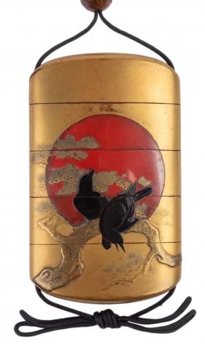 4-Case in Gold Lacquer Inro Signed Kajikawa