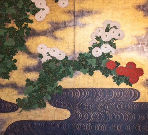 Japanese 2-Panel Screen - 19th Rimpa School - Asian Works of Art Style