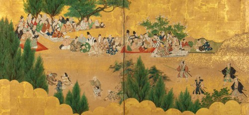 Small 2-Panel Japanese Screen 18/19th - Asian Works of Art Style