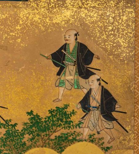 18th century - Small 2-Panel Japanese Screen 18/19th