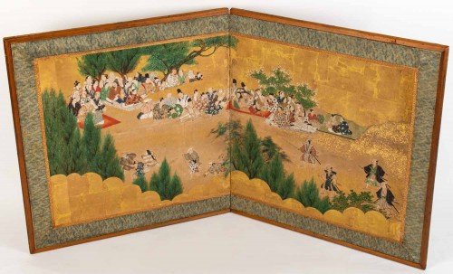 Antiquités - Small 2-Panel Japanese Screen 18/19th