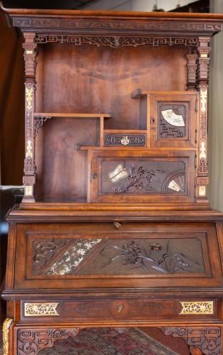 Drop-Leaf Secretary by Gabriel Viardot (1830-1906 - Furniture Style