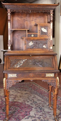 Furniture  - Drop-Leaf Secretary by Gabriel Viardot (1830-1906