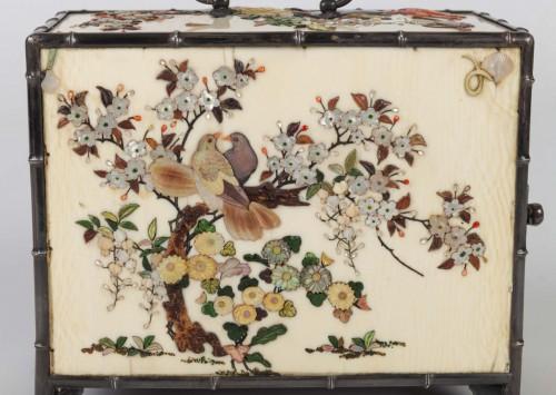 19th century - cabinet japonais (kodansu) en ivoire et shibayama par Masa Hisa