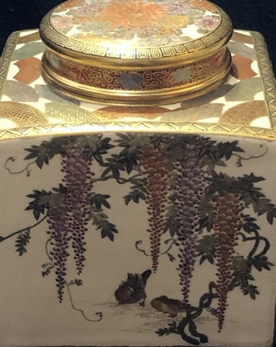 Asian Works of Art  - Satsuma Earthenware tea Box Meiji Period 19th century