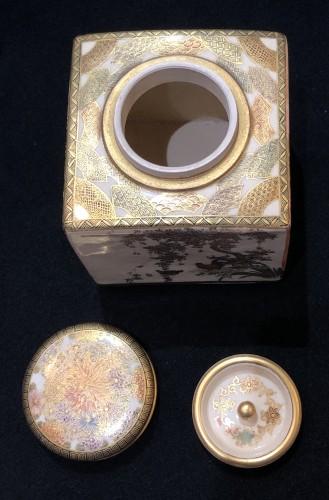 - Satsuma Earthenware tea Box Meiji Period 19th century