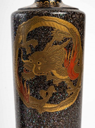 Asian Works of Art  - Japanese Lacquered Pair of Dragons Vases