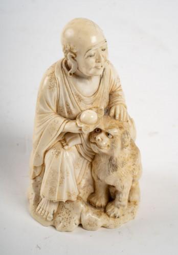 Ivory Okimono of an Arhat -