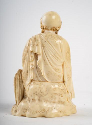 19th century - Ivory Okimono of an Arhat