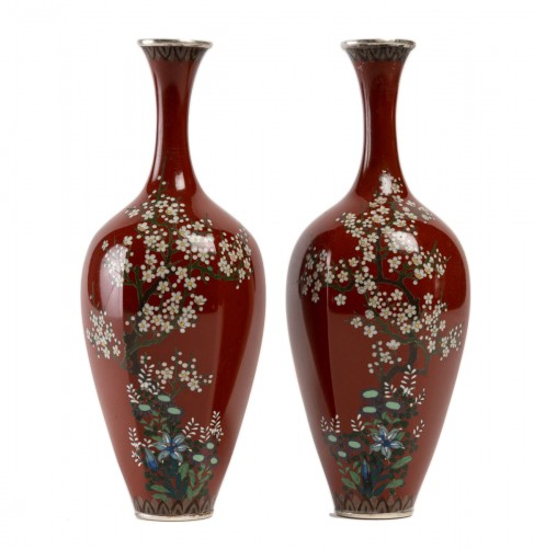 Japanese Pair of Cloisonne Vases