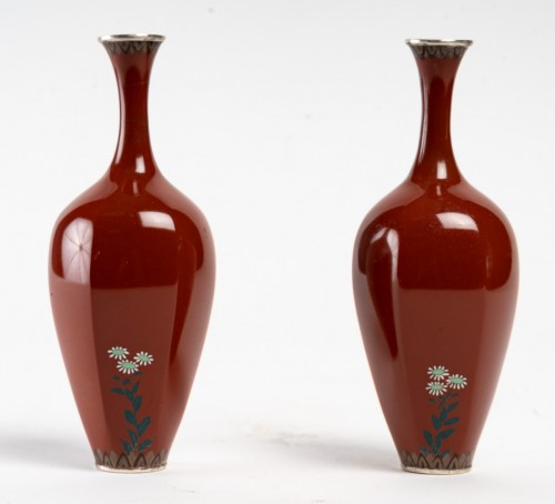 Japanese Pair of Cloisonne Vases - Asian Works of Art Style
