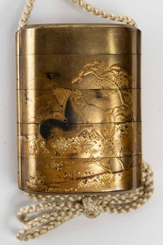 4-Case Gold Lacquer Inro of Horses Decoration - Asian Works of Art Style