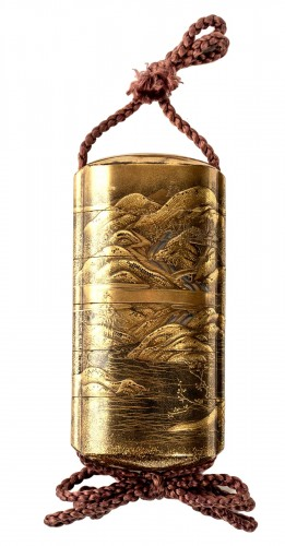 5-Case Gold Lacquer Inro by Kakosai Shozan 19th century