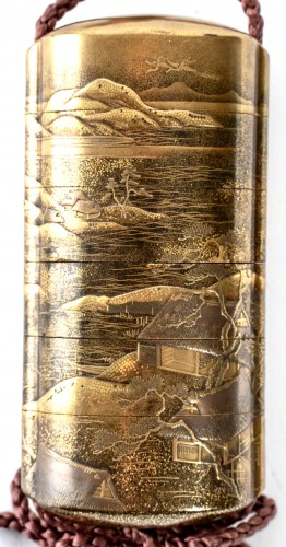 5-Case Gold Lacquer Inro by Kakosai Shozan 19th century -