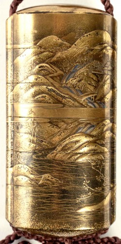 19th century - 5-Case Gold Lacquer Inro by Kakosai Shozan 19th century