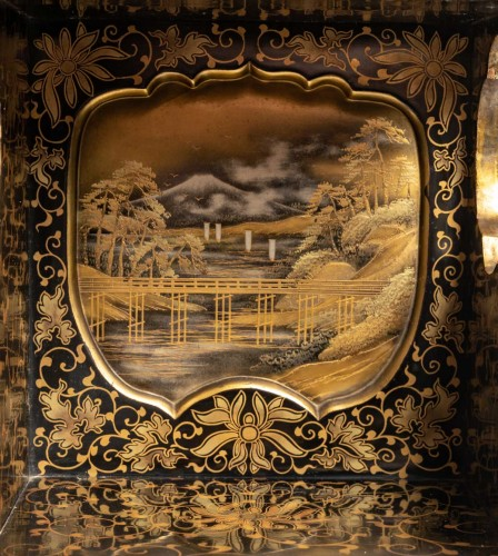 Asian Works of Art  - Japanese Gold and Silver Lacquer Cabinet