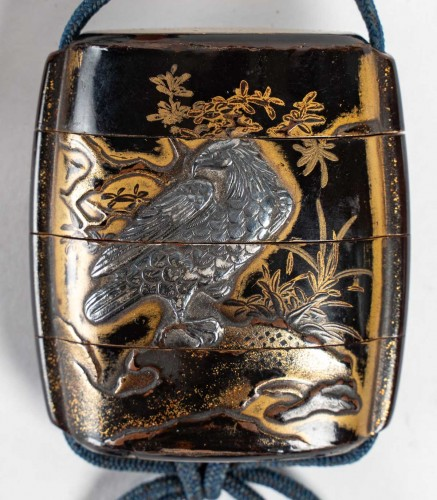 3-Compartment Gold and Brown Lacquer Inro - 17th Century - Asian Works of Art Style
