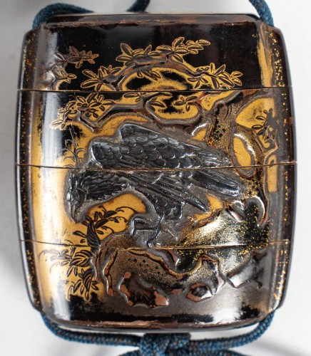 3-Compartment Gold and Brown Lacquer Inro - 17th Century -