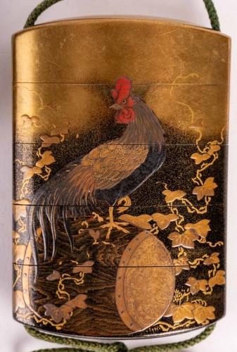 4-Case Inro with boxwood netsuke signed - Kajikawa + Okatomo - Asian Works of Art Style