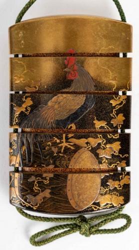- 4-Case Inro with boxwood netsuke signed - Kajikawa + Okatomo
