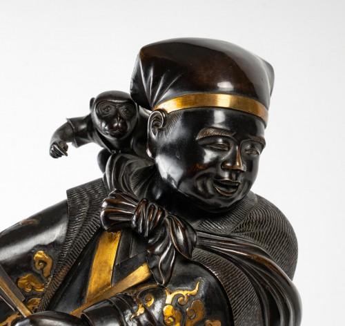 A Sarumawashi (monkey showman) Japanese Bronze - Asian Works of Art Style