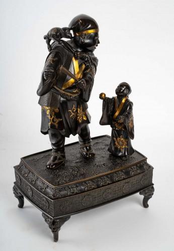 A Sarumawashi (monkey showman) Japanese Bronze -