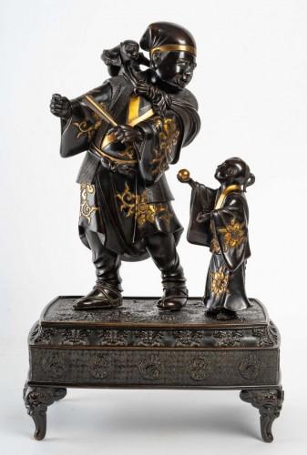 Antiquités - A Sarumawashi (monkey showman) Japanese Bronze