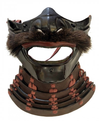 Menpo (Protective Mask) of Armour in Brown Laquered Iron