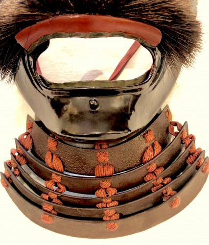 Menpo (Protective Mask) of Armour in Brown Laquered Iron -