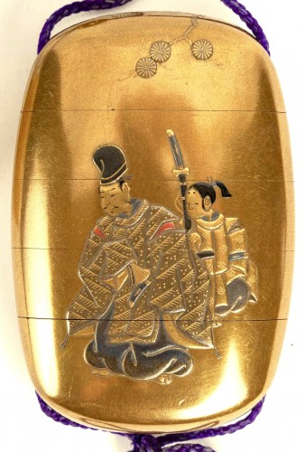 19th century - 4-Case Inro of a Samouraï and Child
