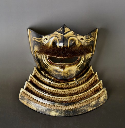Impressive and Rare Iron black and Gilded Menpo -