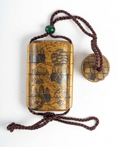 Asian Works of Art  - Inro à 4 cases en laque or et argent 18ème siècle
